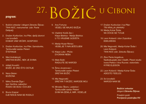 Bozic u Ciboni _program